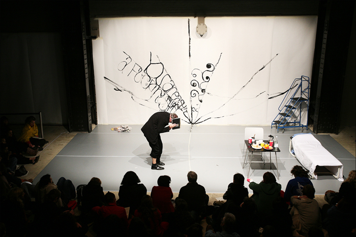 "Matt Mullican, ""Under Hypnosis,""still from performance, Tate Modern, London, 2007"