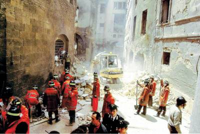 Damage from the bomb of 1993 on Via dei Georgofili, Florence