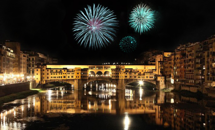 Fireworks over the Ponte Vecchio in Florence