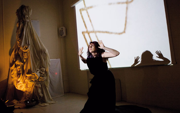 A recent installation/performance at SACI's Jules Maidoff Palazzo directed by Friends of SACI member Alessandra Borsetti Venier. Photo by SACI Artists Council Member Jill Furmanovsky.