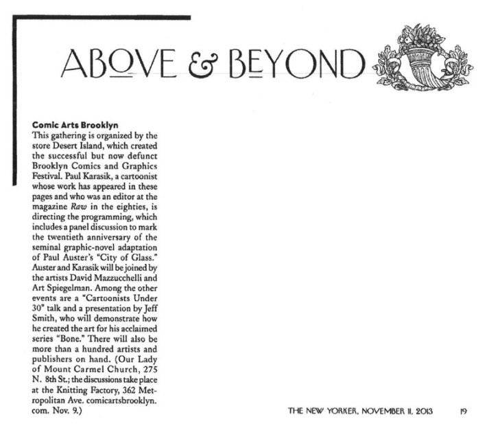 Above & Beyond, The New Yorker, November 11, 2013, page 19