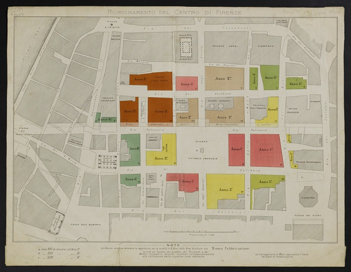 Plan of the demolition and reconstruction of the city centre, approved on 8 March 1888, lithograph, 45 x 57.5 cm, inv. no 94237