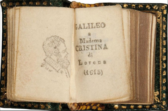 Galileo Galilei, Letter to Madame Christina of Lorraine, Padua, Salmin, 1897, 18x10mm, Biblioteca Nazionale Centrale, Florence. This is believed to be the smallest book in the world, printed with movable type set by hand, published by Salmin publishers, renowned for their microscopic editions. Galileo expressed in the letter his theory and convictions.