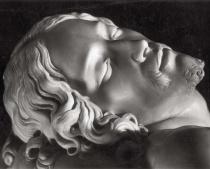 """Renato Sansaini, """"Michelangelo, """"La Pietà (detail), located in the Basilica di San Pietro, photo from c.1940, silver gelatine print from the Ferruccio Malandrin Colletion, Florence"""