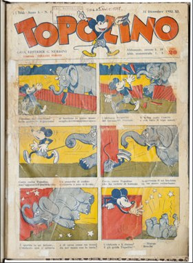 """Topolino"" (December 1932), Biblioteca Marucelliana, Florence: copy of first issue of the comic Topolina (Mickey Mouse),, published by A. Vallecchi of Florence."