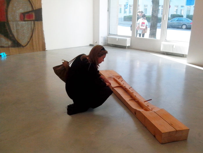 Emily Blasier looking at a Giuseppe Penone sculpture / photo courtesy Radha Tague