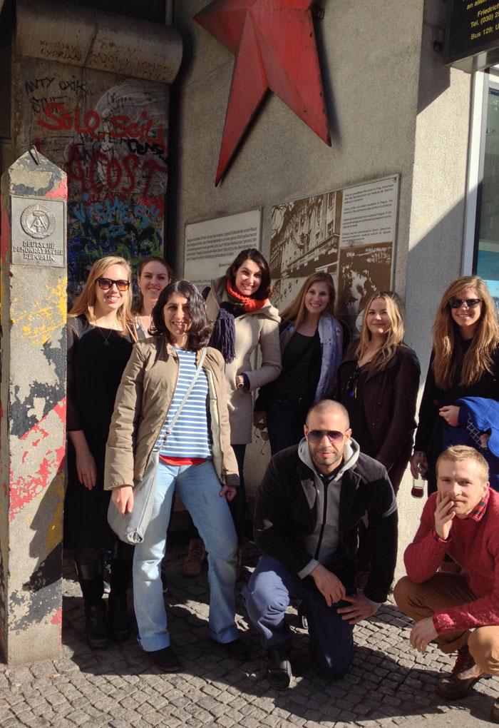 SACI MFA students at Checkpoint Charlie, Berlin