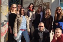 SACI MFA students with Daria Filardo at Checkpoint Charlie, Berlin / photo courtesy of Karen Yurkovich