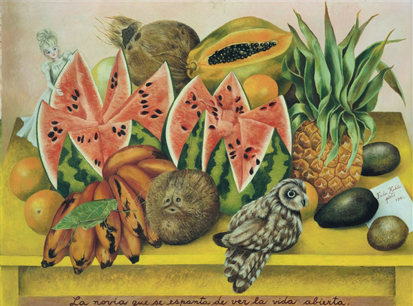 "Frida Kahlo, ""La novia cue se espanta de ver la vida abierta,"" 1943 (The Vergel Foundation, Mexico City)"