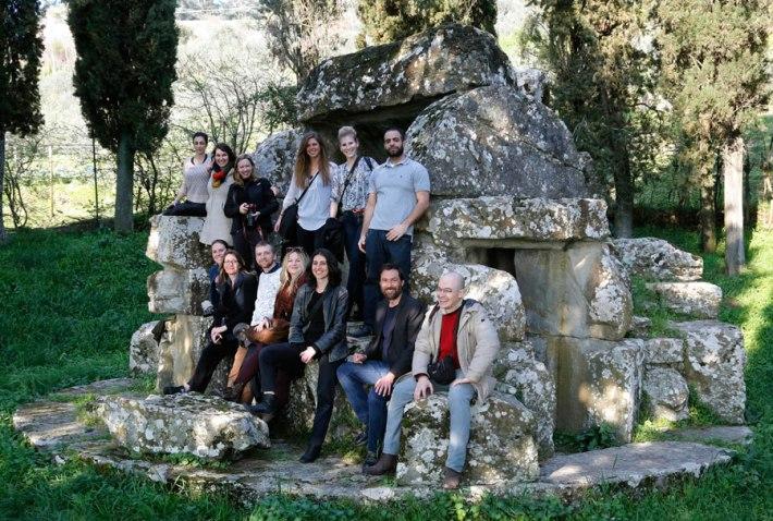 SACI MFA students visiting the Etruscan sites in Cortona