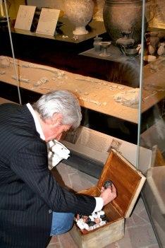"Horacio Lizardo Jr. ""Origini"", terracotta, wax, and wooden box"