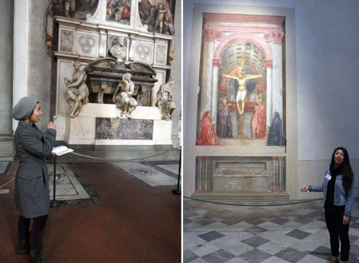 Jessica Bastidas at the Basilica of Santa Croce, and Taylor Healy at Santa Maria Novella, Florence
