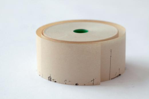 """Luca Pancrazzi, """"Mi disperdo e proseguo lasciandomi indietro un passo dopo l'altro"""", 2001, Indian ink on paper roll for fiscal receipts"""