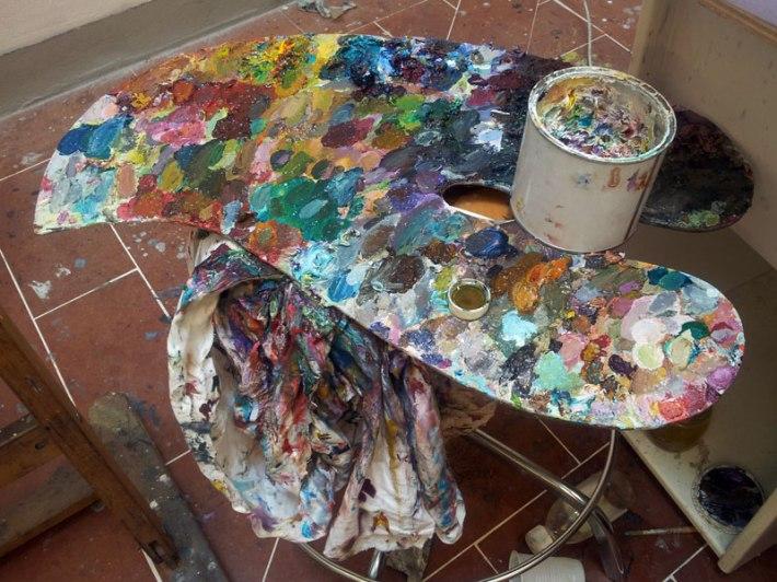 John's well-utilized painting palette [love]