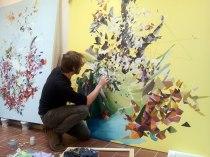 Jon Verney painting in the studio