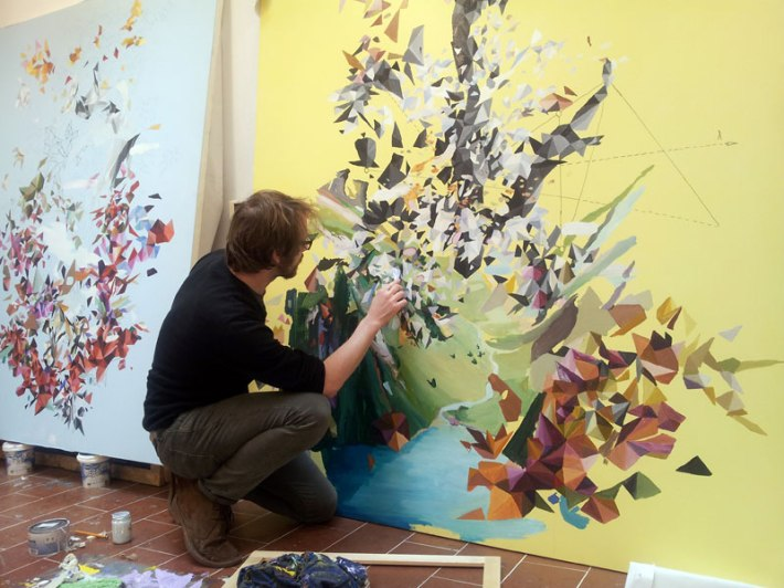 Jon Verney painting in the studio