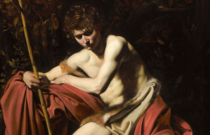 """Detail of Caravaggio's """"Saint John the Baptist in the Wilderness"""", 1604–5. Oil on canvas, 68 x 52 in. (172.7 x 132.1 cm) The Nelson-Atkins Museum of Art, Kansas City, Missouri."""