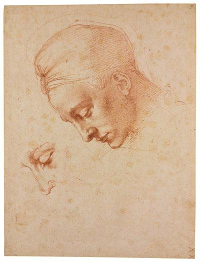 """Michelangelo, Studi per la testa della """"Leda"""", 1530 ca., pietra rossa su carta, Casa Buonarroti, Firenze"""