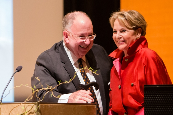 Brooklyn Museum director Arnold Lehman and Elizabeth Sackler. Photo: Liz Ligon, courtesy Brooklyn Museum.