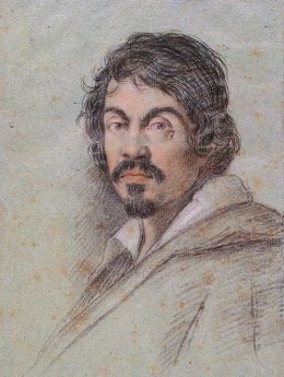 Chalk portrait of Caravaggio by Ottavio Leoni circa 1621