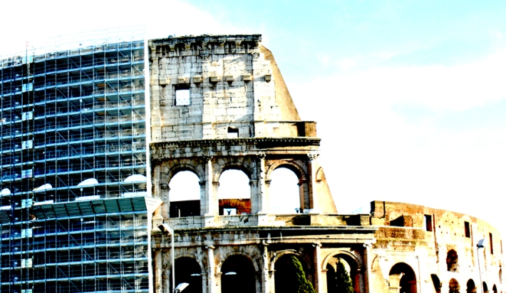 Rome's Colosseum under scaffolding