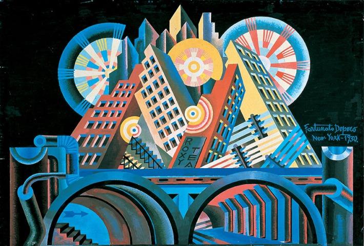 Fortunato Depero - Grattacieli e tunnel 1930, Tempera su cartoncino, 68 x 102cm Mart,  Rovereto