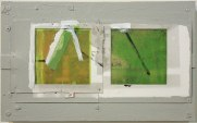 "Ryan Ward, ""Slide plural"", acrylic, paper, plastic on wood, 10x16"""