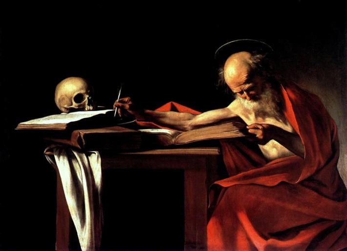 """Caravaggio, """"St. Jerome"""", 1605–1606, Galleria Borghese, Rome"""