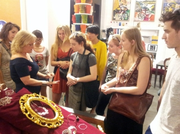 SACI jewelry students at the Caffè Florian Craftsmen pop-up