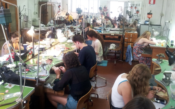 SACI Jewelry Design students at work in the studio