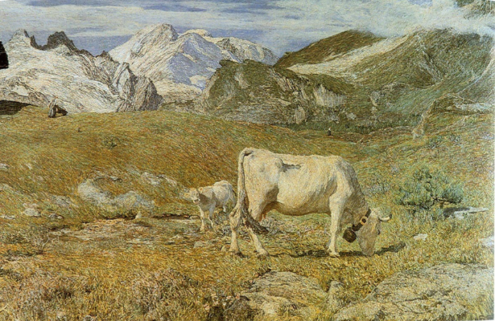 """Giovanni Segantini, """"Pascoli di Primavera"""" [1896], oil on canvas, 97 × 155.5 cm"""
