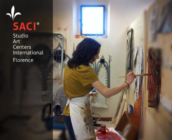 SACI MFA student, Molly Di Grazia, in her studio
