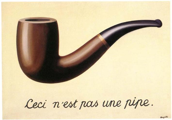 """Rene Magritte, """"Ceci n'est pas une pipe,"""" oil on canvas, 1928-29, 25""""x37"""" - Los Angeles County Museum of Art, Los Angeles, California"""