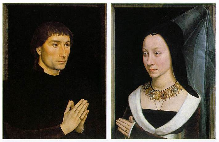 "Hans Memling, ""Tommaso Portinari and his Wife"" ca. 1470, Oil on wood,"