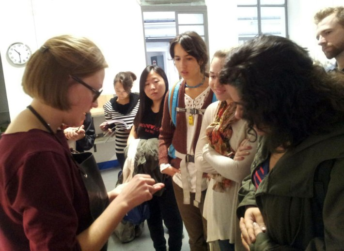 Martina Lončar showing her work to.SACI Jewelry Design students