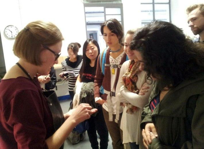 Martina Lončar showing her work to.SACI Jewelry Design students