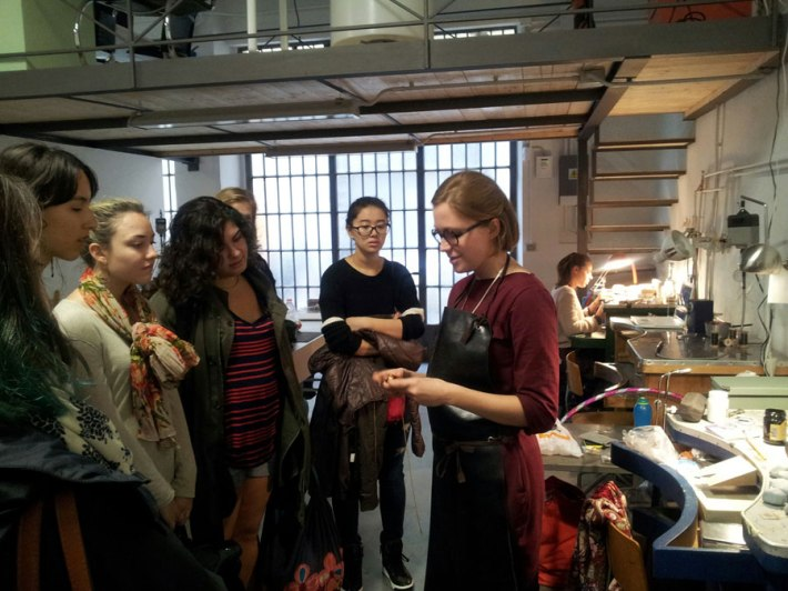 SACI Jewelry Design students visiting a local jewelry studio in Florence