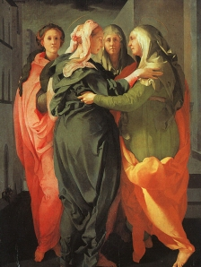 "Jacopo Pontormo, ""Visitation"" c. 1529, 20.2 x 15.6 cm. Church of San Francesco e Michele, Carmignano, Italy"