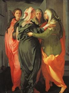 "Jacopo Pontormo, ""Visitation"" c. 1529, 20.2 x 15.6 cm. Church of San Francesco e Michele, Carmignano, Italy"