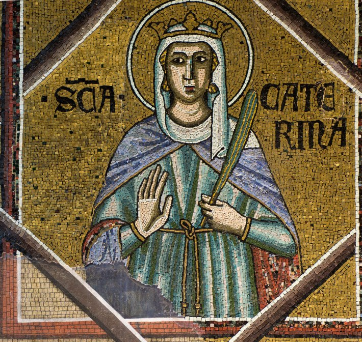 Detail of Santa Caterina mosaic on the Baptistery ceiling