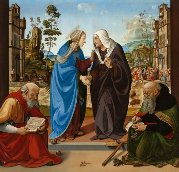 "Piero di Cosimo, ""The Visitation with Saints Nicholas and Anthony Abbot,"" c. 1489-1490, National Gallery of Art, Washington, Samuel H Kress Collection"