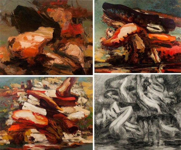 Four works by Dana Saulnier