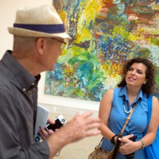 SACI Contemporary Art: Biennale and Beyond instructor, Richard Ingersoll, with SACI student at the Venice Biennale