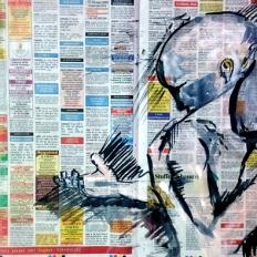 yogesh sehgal painting on news paper half imperial
