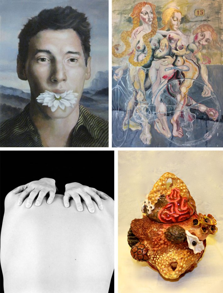 Clockwise: Daniel Schoeneck (painting), Anastasia Soboleva (painting), Hana Sackler (photography), and Hollace Kutay (ceramics)