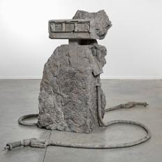 """Allora & Calzadilla """"2 Hose Petrified Petrol Pump,"""" 2012, Stone, Dimensions variable"""