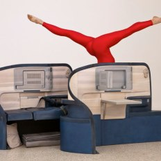 Allora & Calzadilla Body in Flight (Delta), 2011 Stained Wood, gymnasts (Rachel Salzman, USA Gymnastics, depicted) Installation view' Gloria' US Pavilion presented by the Indianapolis Museum of Art, 54th International Art Exhibition, La Biennale di Venezia Photo: Andrew Bordwin
