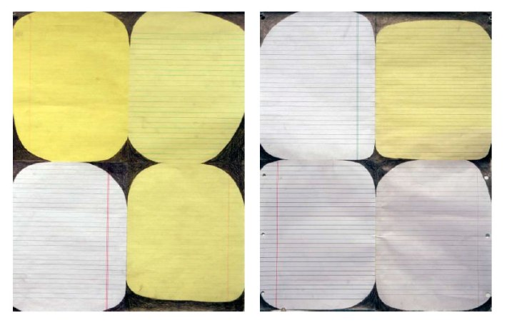 "Deborah Zlotsky, ""Aligning notebook paper,"" graphite, tape approx. 22 inches x 16 each, 2015"