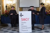 SACI Founder and Director Emeritus, Jules Maidoff, giving MFA diplomas
