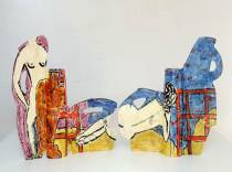 "Betty Woodman, ""Posing With Vases at the Beach,"" 2008 33 x 81 x 6 3/4 in (84 x 206 x 17 cm)"